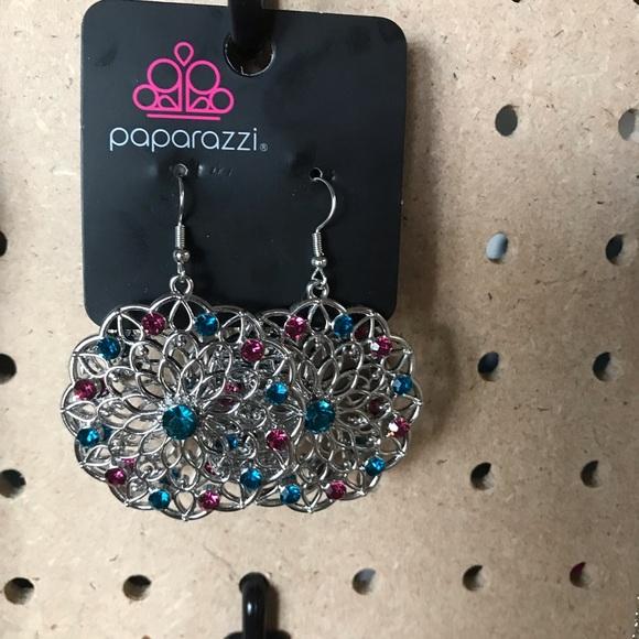 Silver, aquamarine, hot pink flower earrings.